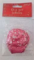 Pack of 6 It's a girl pink balloons (Code 3683)